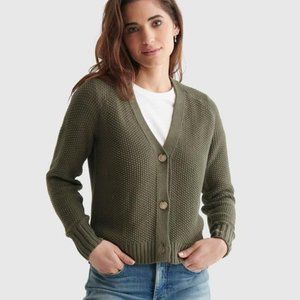 Lucky Brand Olive Green Textured Cardigan M NWT